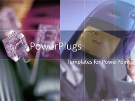 PowerPlugs: PowerPoint template with three RJ45 network cables with a cell phone in background