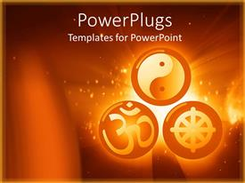 PowerPoint template displaying three round orange balls with chinese symbols inside them