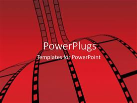 PowerPlugs: PowerPoint template with three rows of films on straight lines and a peach colored background