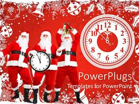 PowerPlugs: PowerPoint template with three Santa Clauses on red Christmas background with white clock approaching midnight