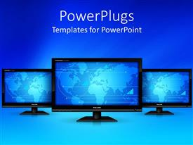 PowerPoint template displaying three screens with bluish background and place for text