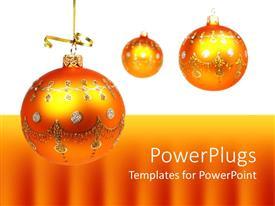 PowerPoint template displaying three shining orange crystal balls on white and orange background