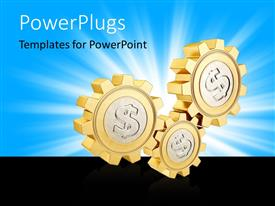 PowerPlugs: PowerPoint template with three shinning gold colored bills with dollar symbols
