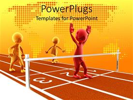 PowerPlugs: PowerPoint template with three shinny human figures close to the finish line on a race track