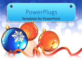 PowerPlugs: PowerPoint template with three shinny large blue and orange colored christmas balls