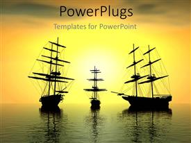 PowerPoint template displaying three ships with high sails and sunset over sea surface