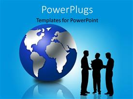 PowerPoint template displaying three silhouette men talking and a large globe beside them