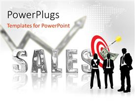 PowerPlugs: PowerPoint template with three silhouettes next to silver three dimensional word Sales