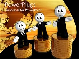 PowerPoint template displaying three smiling figures wearing business suits standing atop stacks of gold coins in front of globe