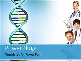 PowerPoint template displaying three smiling medical doctors with colorful DNA strand over blue background