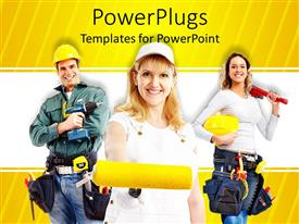PowerPlugs: PowerPoint template with three smiling people in construction attires and equipments