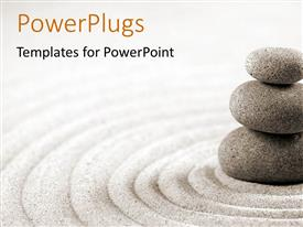 PowerPlugs: PowerPoint template with three stacked stones on raked sand