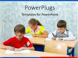 PowerPlugs: PowerPoint template with three students hard at work in classroom