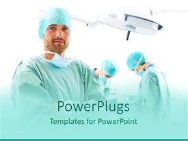 PowerPlugs: PowerPoint template with three surgeons in operation theater one surgeon looking at the camera, two surgeons performing surgery