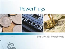 PowerPoint template displaying three tiles with some coins, some dollar bills and a bank