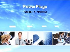 PowerPlugs: PowerPoint template with three tiles with some images over a clear sky background