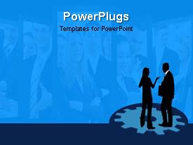 PowerPlugs: PowerPoint template with three tiles with images in them and a two business people