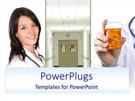 PowerPlugs: PowerPoint template with three tiles with a lady, a door and a prescription bottle