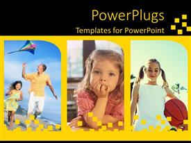 PowerPlugs: PowerPoint template with three tiles of little girls and one with an adult