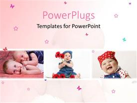 PowerPoint template displaying three tiles of little kids playing on a pink background
