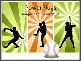 PowerPlugs: PowerPoint template with three tiles with men playing baseball in different positions