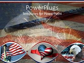 PowerPlugs: PowerPoint template with three tiles showing an American flag, an eagle and a heart shape