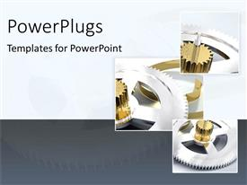 PowerPoint template displaying three tiles showing different gears on a white and grey background