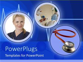 PowerPlugs: PowerPoint template with three tiles with surgeons in an operating room, a smiling lady and a stethoscope