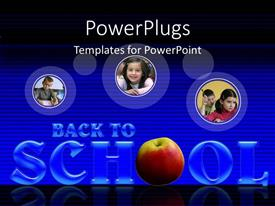 PowerPlugs: PowerPoint template with three tiles with a text that spell out the word 'School'