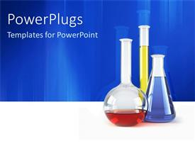 PowerPlugs: PowerPoint template with three vials lab test tubes with colorful chemical liquids