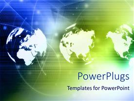 PowerPlugs: PowerPoint template with three views of white globe on blue and green background