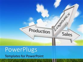 PowerPlugs: PowerPoint template with three way intersection road sign with business functions as directions and puzzles flying in different direction in the background