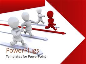 PowerPlugs: PowerPoint template with three white 3D human characters running with a leading red one