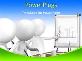 PowerPlugs: PowerPoint template with three white figures in business meeting taking notes and drinking coffee