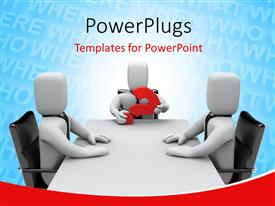 PowerPlugs: PowerPoint template with three white figures sitting around conference table with one member holding red question mark