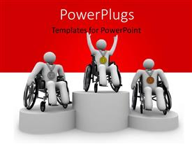 PowerPoint template displaying three white figures in wheelchairs with first, second, and third place medals