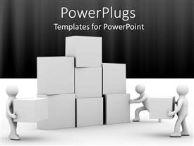 PowerPlugs: PowerPoint template with three white figures working together to build wall of blocks