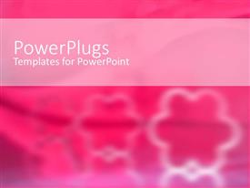 PowerPlugs: PowerPoint template with three white floral patters on a blurry pink background