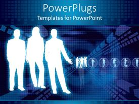 PowerPlugs: PowerPoint template with three white graphical human figures on a blue background
