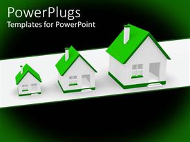 PowerPoint template displaying three white houses with green roofs, real estate, ecology, mortgages, conservation