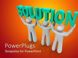 PowerPlugs: PowerPoint template with three white human figures lifting up a Solution text