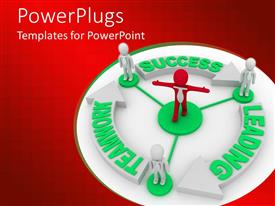 PowerPlugs: PowerPoint template with three white and red colored human characters standing round a recycle symbol