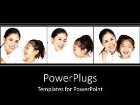 PowerPlugs: PowerPoint template with three white tiles with a lady and her daughter smiling happily