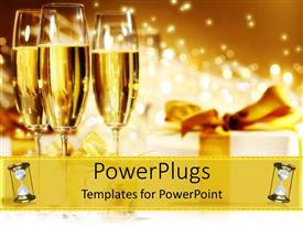 PowerPlugs: PowerPoint template with three wine glasses with white gift wrapped box and gold ribbon