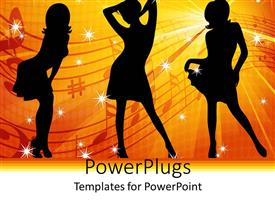 PowerPoint template displaying three women dancer silhouettes against yellow and red ray background
