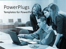 PowerPlugs: PowerPoint template with three women gathered around man sitting at a laptop