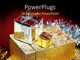 Colorful PPT theme having three wrapped gift boxes on a red background