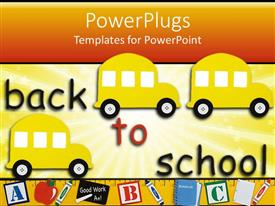 PowerPoint template displaying three yellow school buses with colorful Back to school text