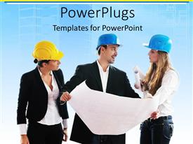 PowerPlugs: PowerPoint template with three young architects wearing yellow and blue hard hats and holding papers, building plans and blueprints, talking and listening to each other
