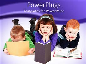 PowerPlugs: PowerPoint template with three young pupils reading books on a white floor